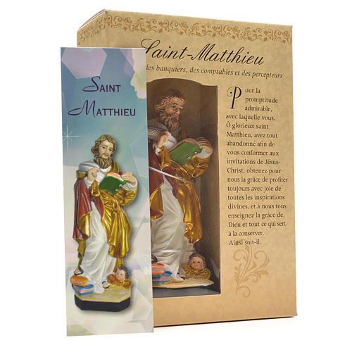 Figurka święty Mateusz z obrazkiem z modlitwą po francusku 3