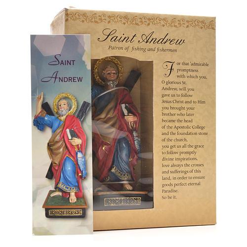 Sant'Andrea 12 cm con immaginetta PREGHIERA INGLESE 3