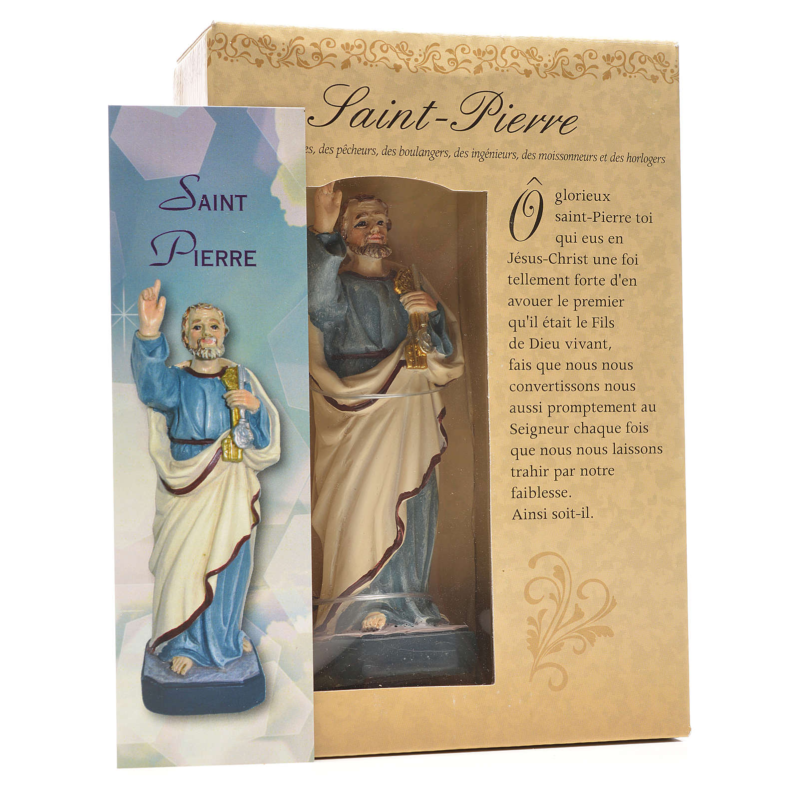 San Pedro 12cm con imagen y oración en Francés 4