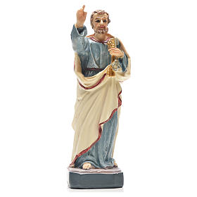 Resin & PVC statues: Saint Peter 12cm with French prayer
