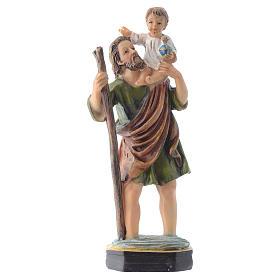 Statues en résine et PVC: Saint Christophe 12 cm pvc PRIÈRE MULTILINGUE