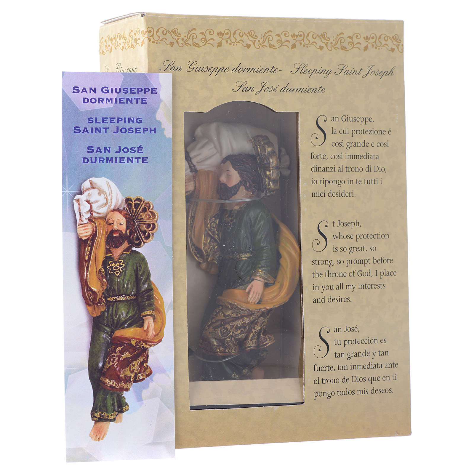 Sleeping Saint Joseph statue 12cm GIFT BOX Multilingual prayer 4