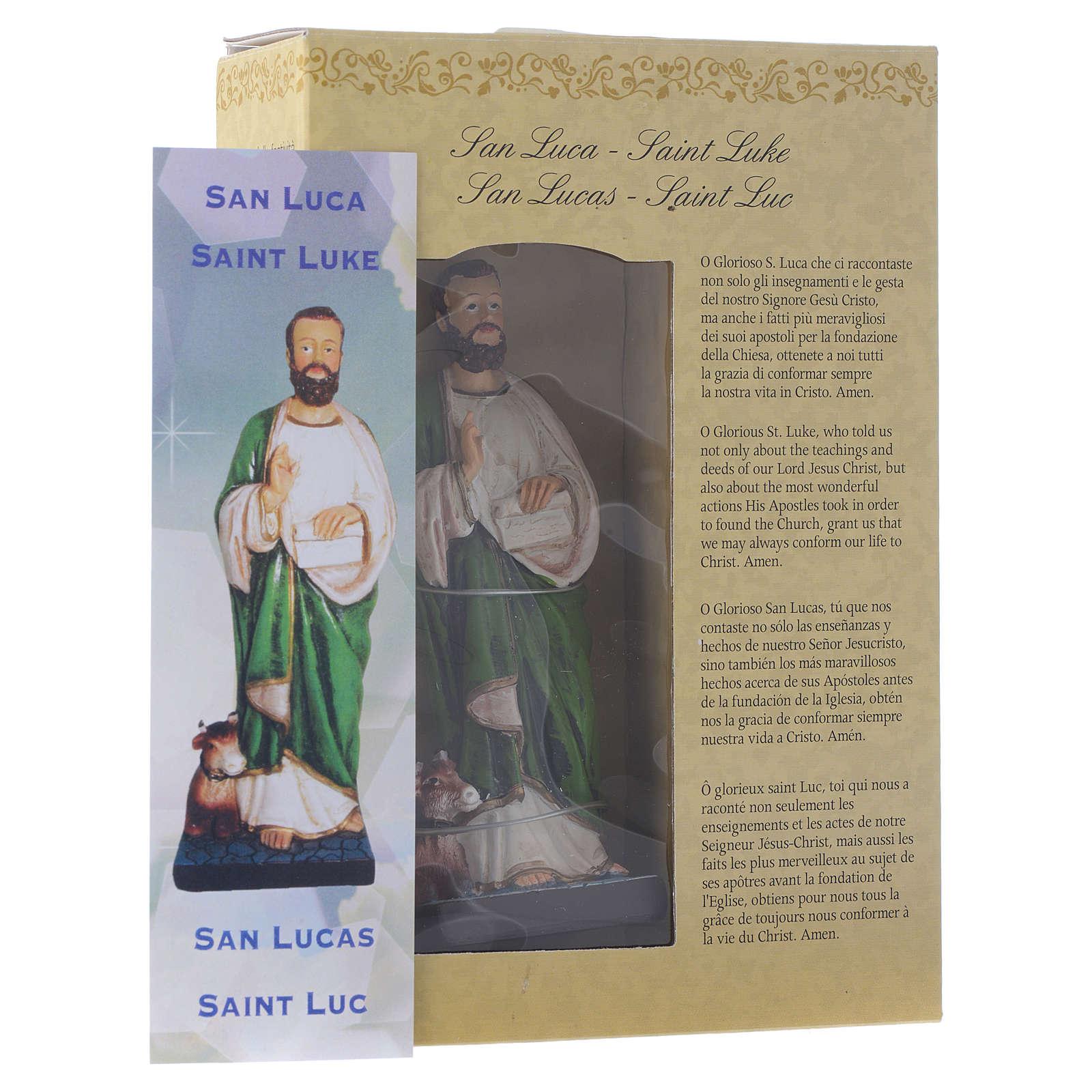 Saint Luc endormi 12 cm pvc PRIÈRE MULTILINGUE 4