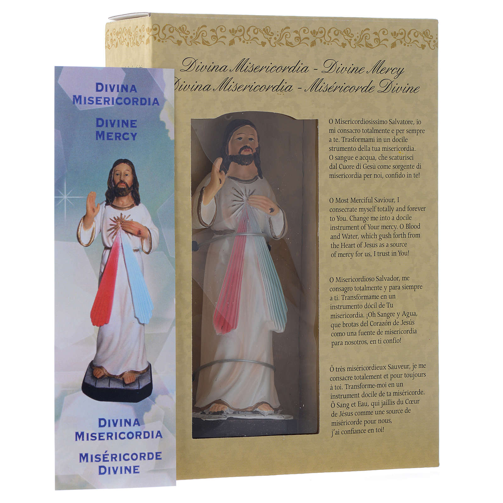 Cristo Misericordioso 12 cm pvc caixa ORAÇÃO MULTILINGUE 4
