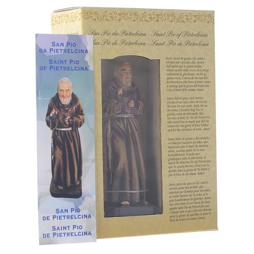 Saint Pio statue 12cm Multilingual prayer 3