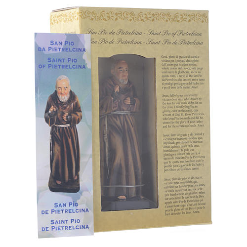 Saint Pio statue 12cm Multilingual prayer 3