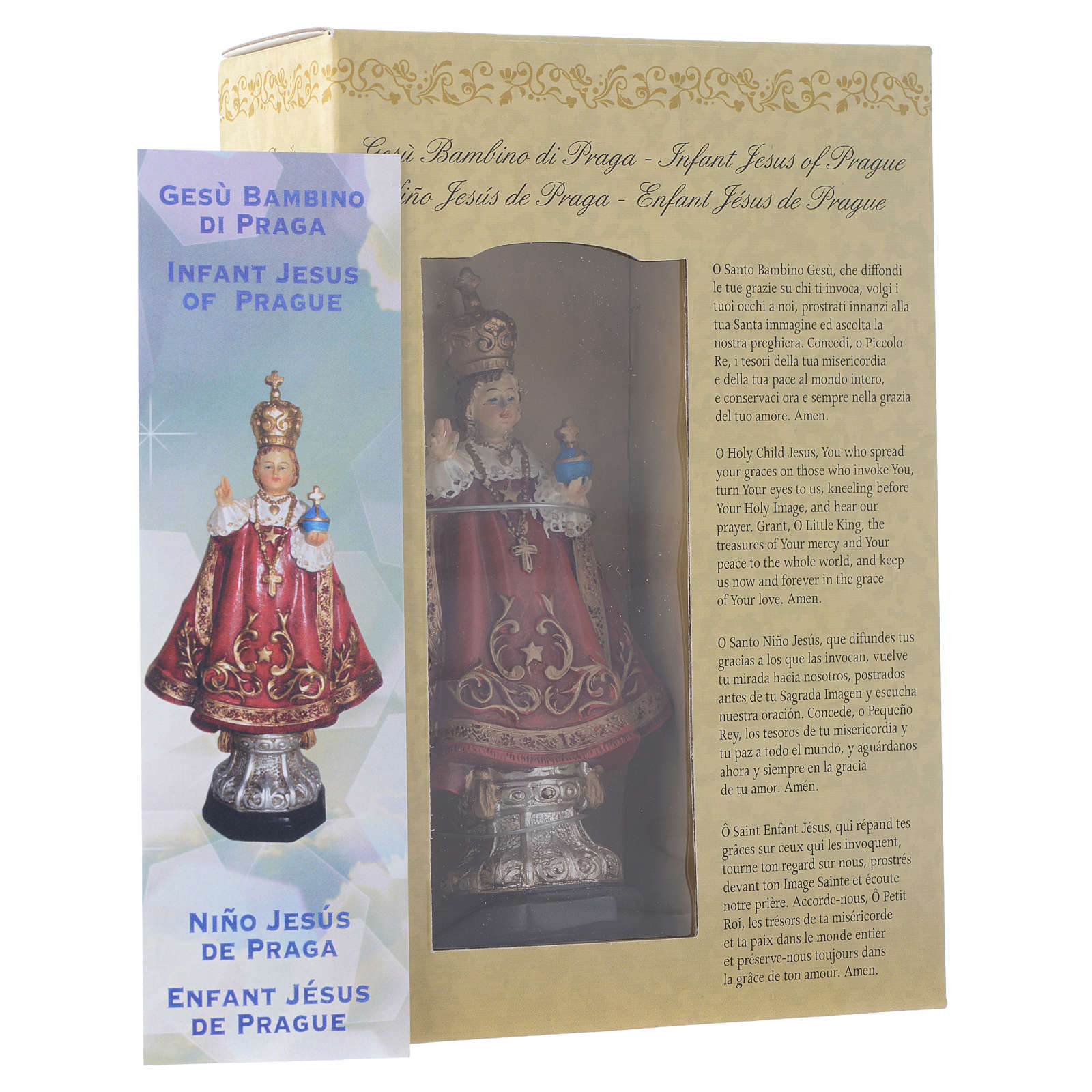 Enfant Jésus de Prague 12 cm pvc PRIÈRE MULTILINGUE 4