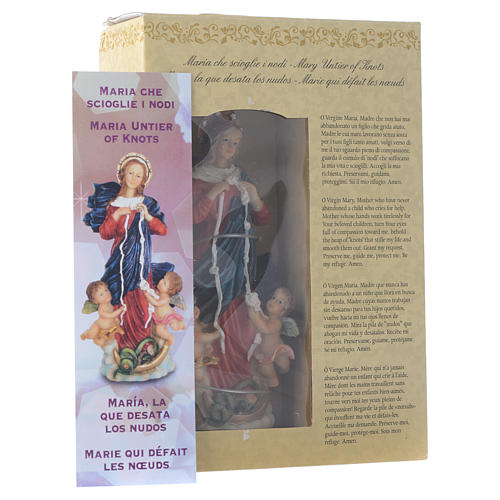 Mary untier of Knots statue 12cm Multilingual prayer 3
