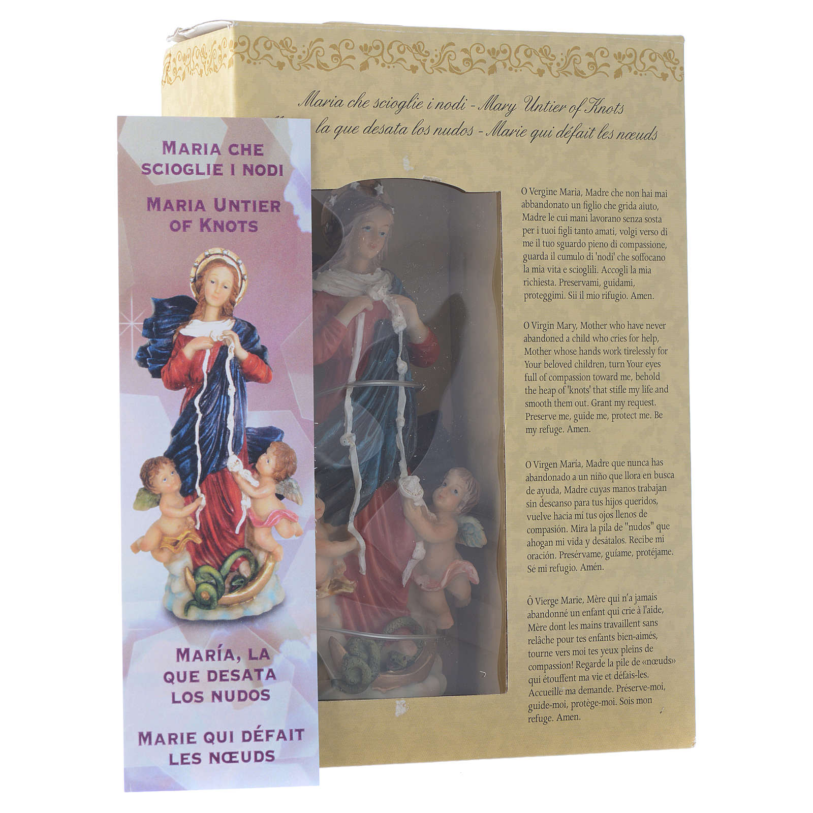 Mary untier of Knots statue 12cm Multilingual prayer 4