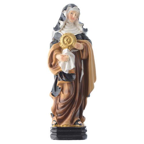 Saint Clare statue 12cm Multilingual prayer 1