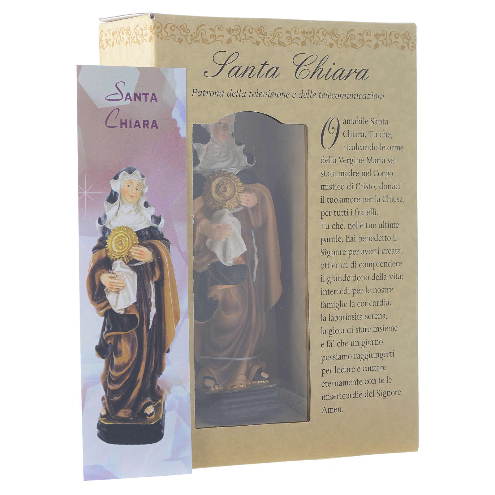 Santa Clara 12 cm pvc caixa ORAÇÃO MULTILINGUE 4