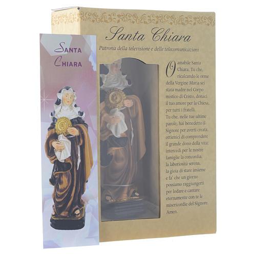 Santa Clara 12 cm pvc caixa ORAÇÃO MULTILINGUE 3
