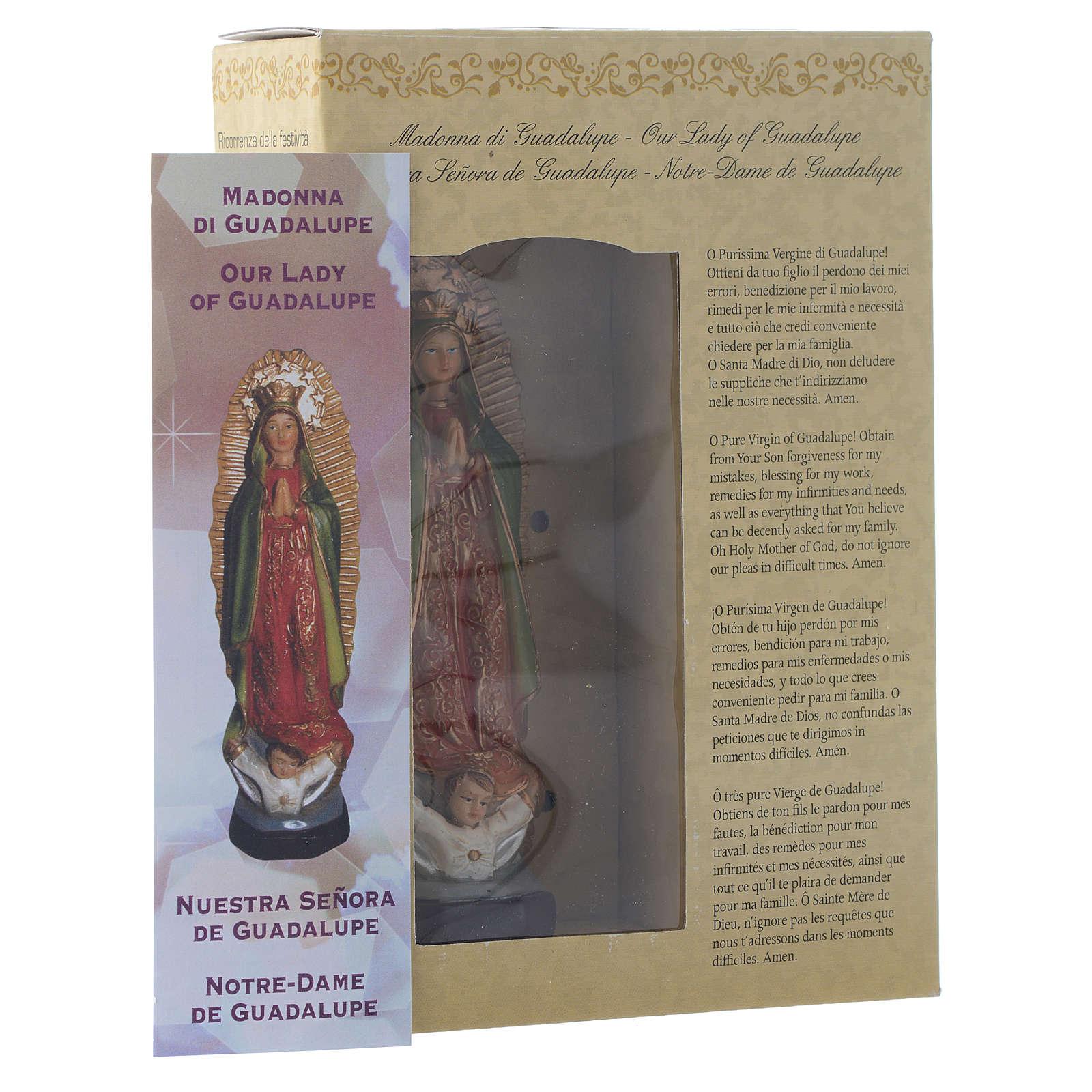 Nossa Senhora de Guadalupe 12 cm pvc caixa ORAÇÃO MULTILINGUE 4