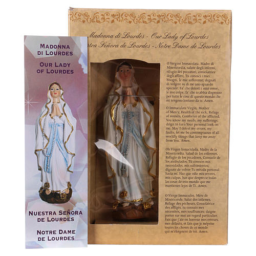 Our Lady of Lourdes 12 cm with MULTILINGUAL PRAYER 4