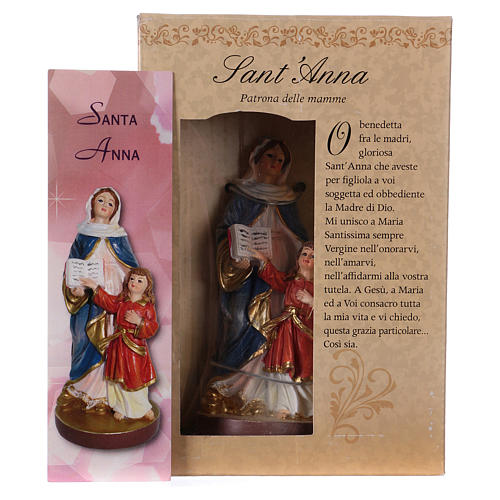 St. Anne statue with MULTILINGUAL PRAYER 12 cm 4