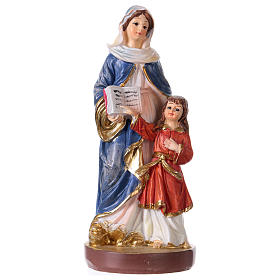 Statues en résine et PVC: Sainte Anne 12 cm avec image PRIÈRE MULTILINGUE