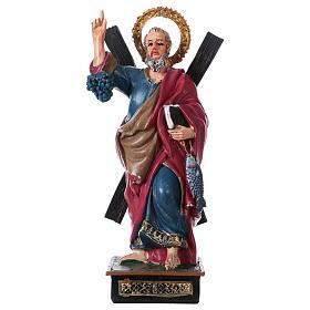 Statues en résine et PVC: Saint André 12 cm avec image PRIÈRE MULTILINGUE