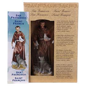 Saint François d'Assise 12 cm avec image PRIÈRE MULTILINGUE s4