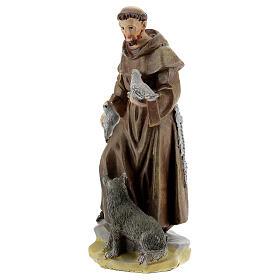 Saint François d'Assise 12 cm avec image PRIÈRE MULTILINGUE s2