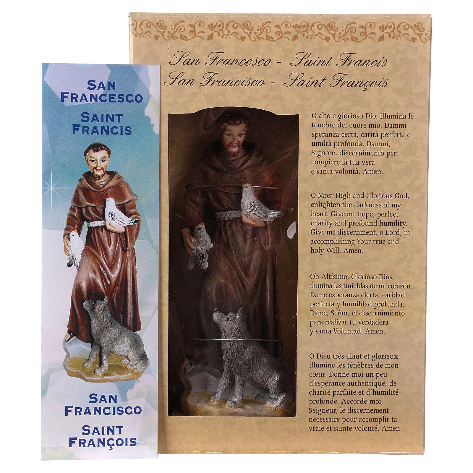 San Francesco d'Assisi 12 cm con immaginetta PREGHIERA MULTILINGUA 4