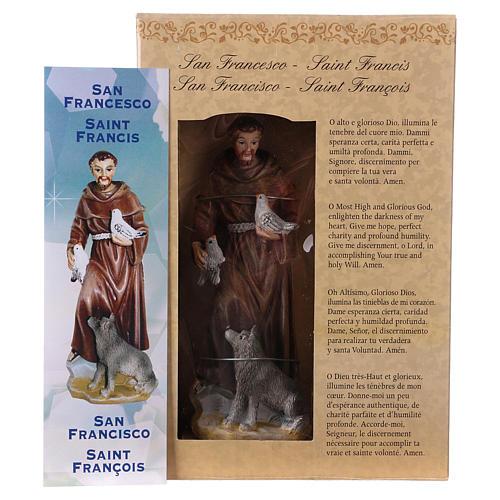 Święty Franciszek z Asyżu 12 cm z obrazkiem MODLITWA W WIELU JĘZYKACH 4
