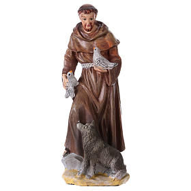 Resin & PVC statues: Saint Francis of Assisi 12 cm with MULTILINGUAL PRAYER