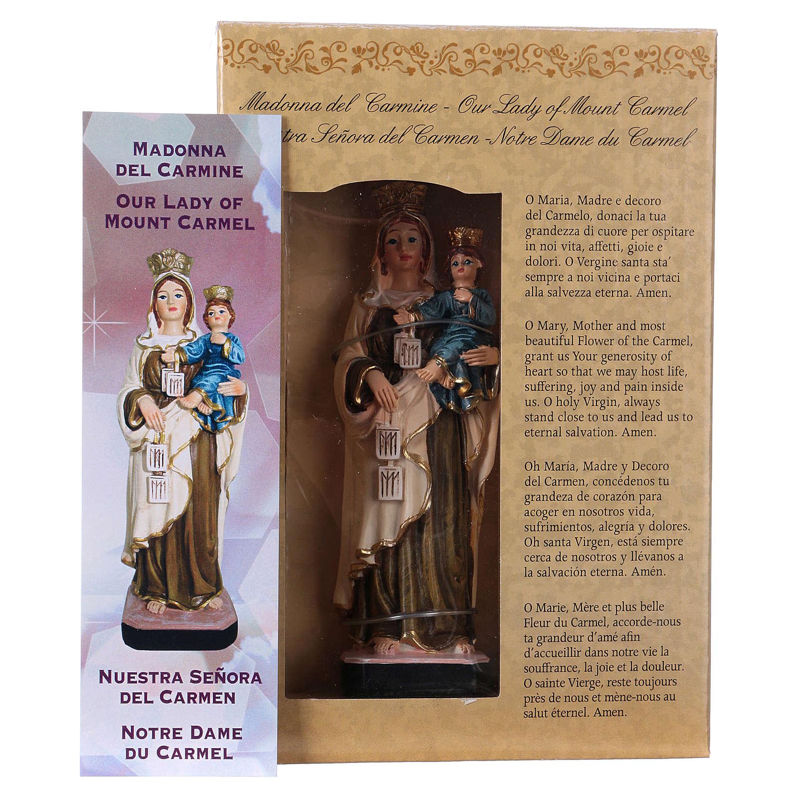 Madonna del Carmine 12 cm con immaginetta PREGHIERA MULTILINGUA 4