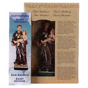 Sant'Antonio da Padova 12 cm con immaginetta PREGHIERA MULTILINGUA s4