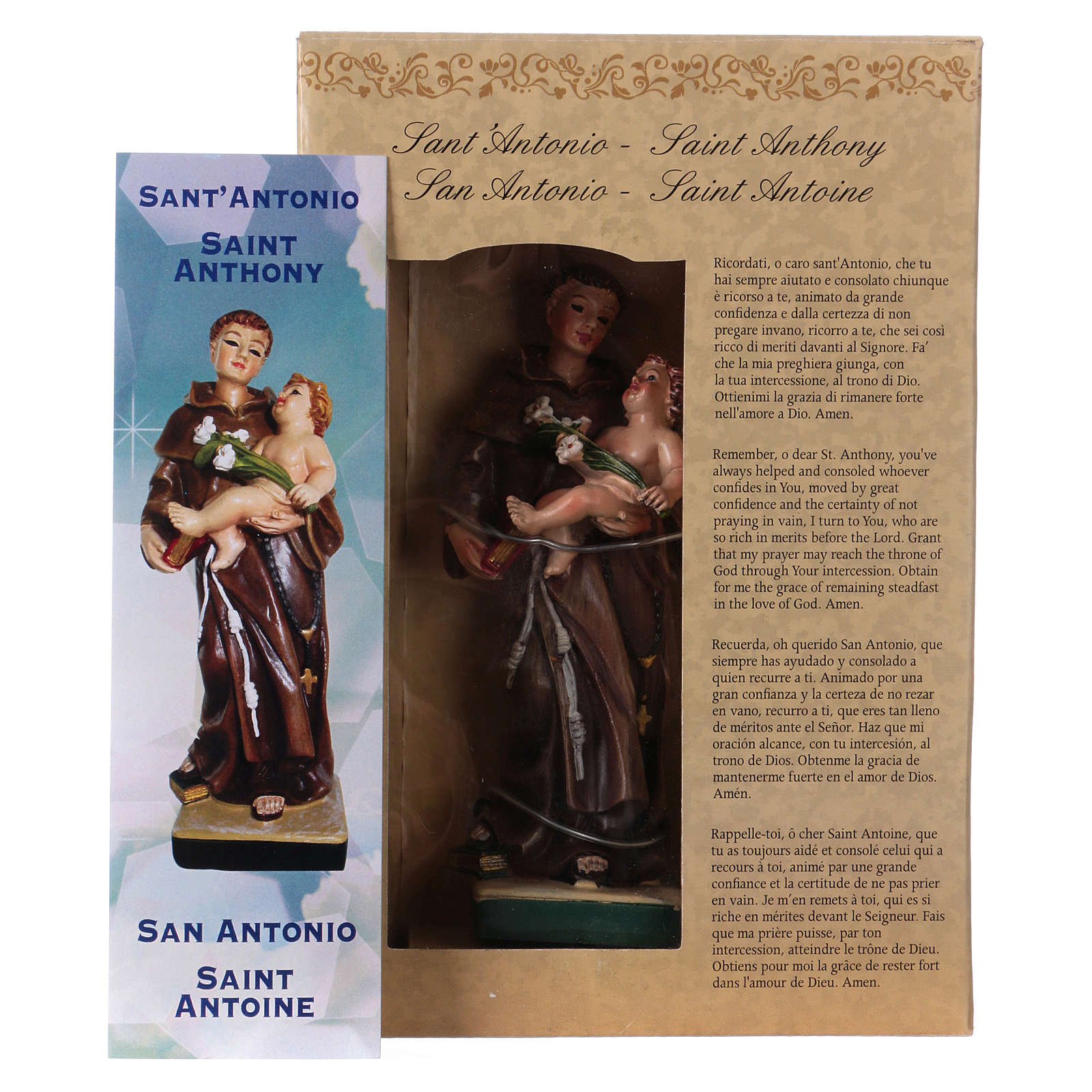 St Anthony of Padua 12 cm with MULTILINGUAL PRAYER 4