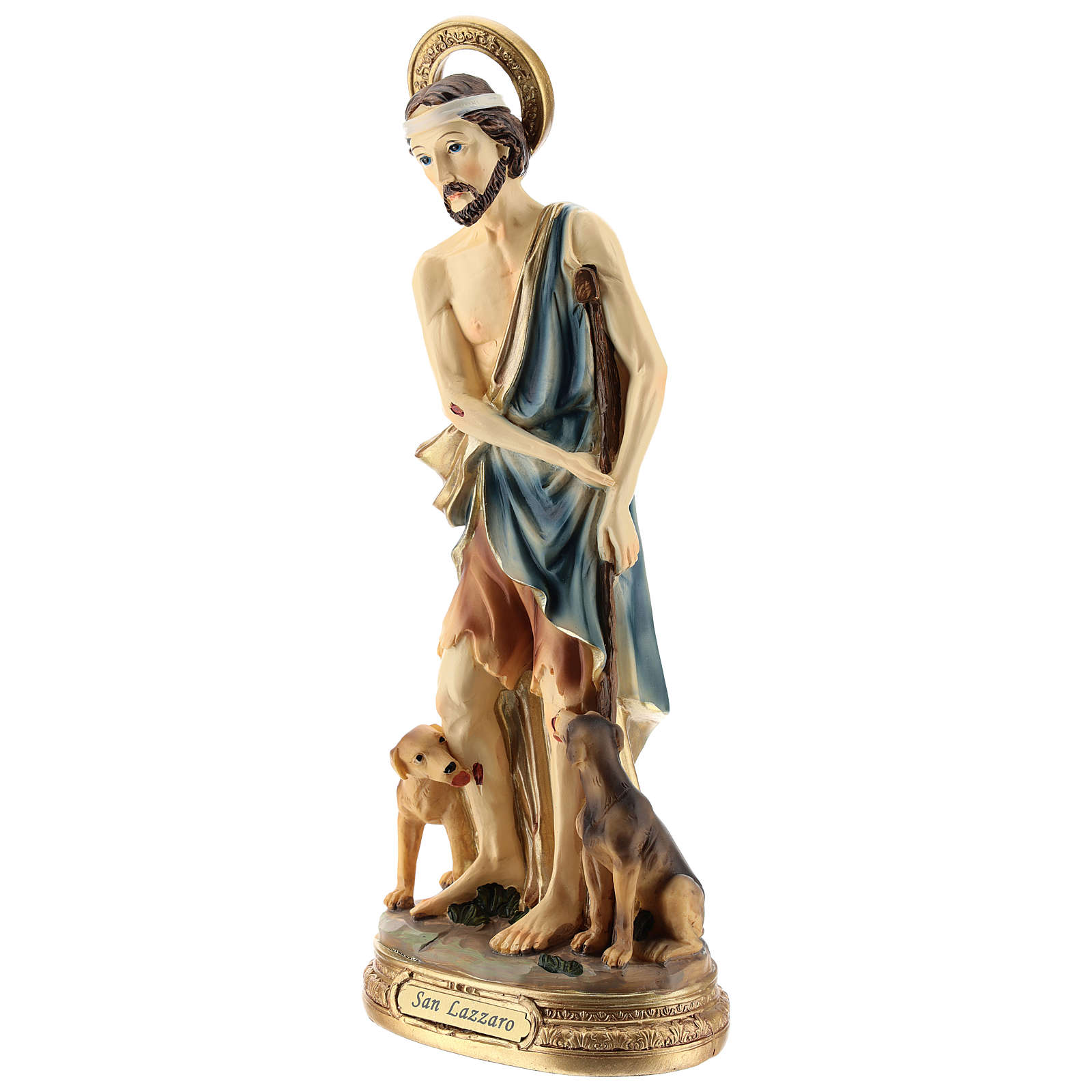 Statue of St. Lazarus in resin 30 cm 4