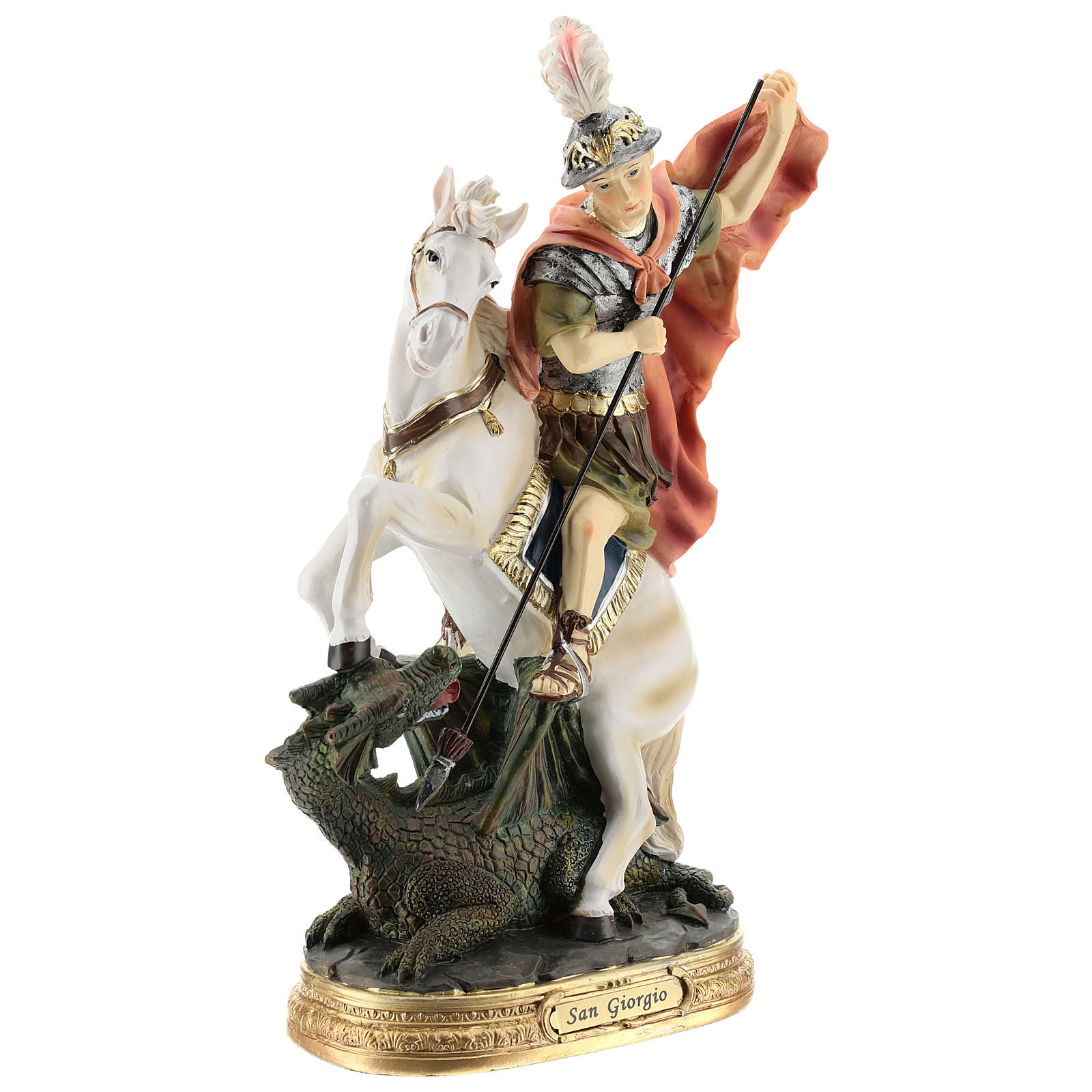 Statue of St. George killing the dragon in resin 30 cm 4