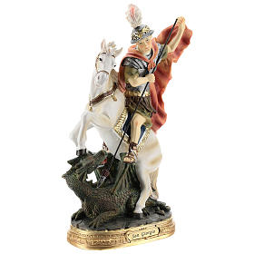 Statue of St. George killing the dragon in resin 30 cm s4