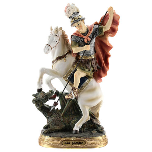 Statue of St. George killing the dragon in resin 30 cm 1