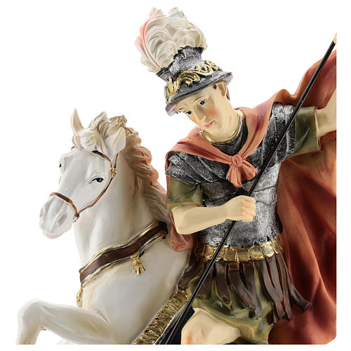 Statue of St. George killing the dragon in resin 30 cm 2