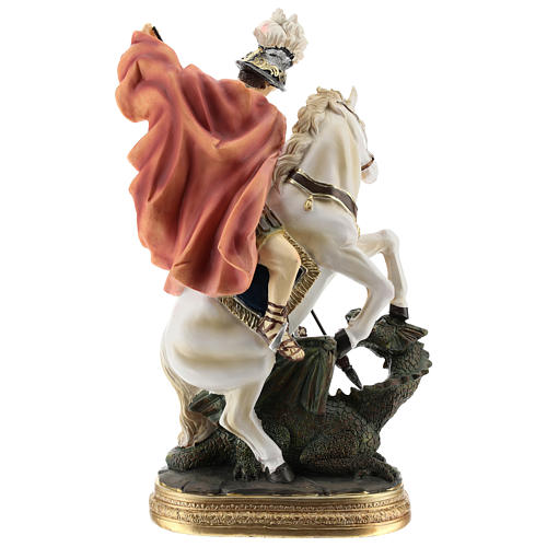 Statue of St. George killing the dragon in resin 30 cm 5
