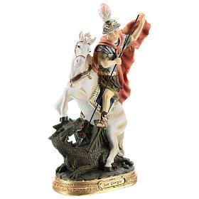 Statue Saint Georges qui tue le dragon résine 30 cm s4