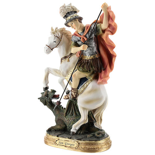 Statue Saint Georges qui tue le dragon résine 30 cm 3