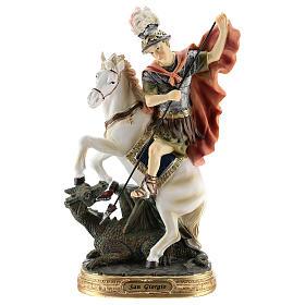 Statua San Giorgio uccide il drago resina 30 cm s1