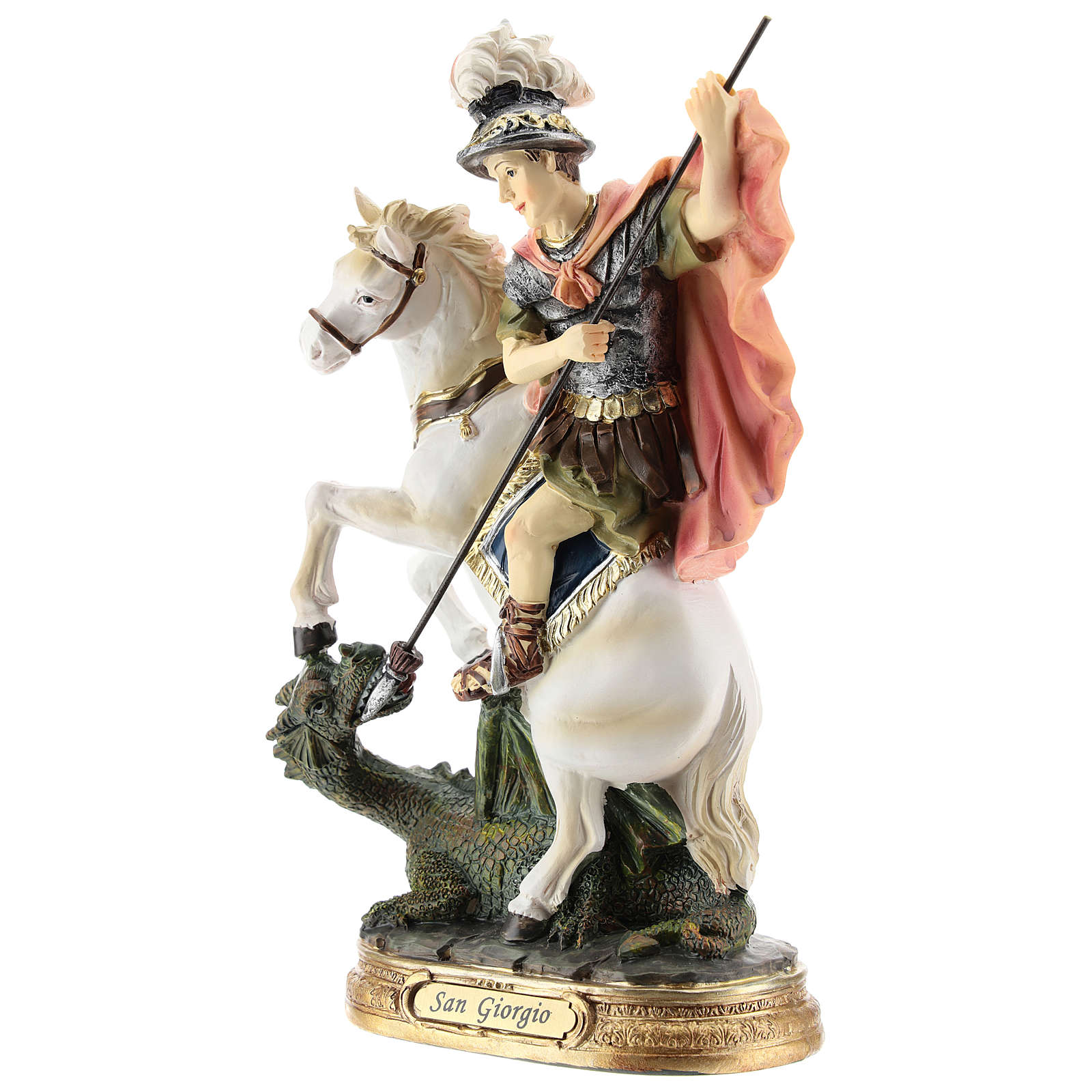 Saint Georges tue le dragon statue résine 20 cm 4