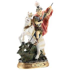 Saint Georges tue le dragon statue résine 20 cm s4