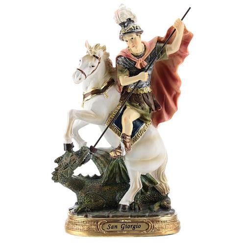 Saint Georges tue le dragon statue résine 20 cm 1
