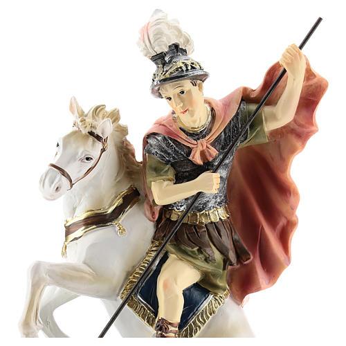 Saint Georges tue le dragon statue résine 20 cm 2