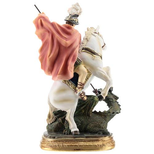 Saint Georges tue le dragon statue résine 20 cm 5