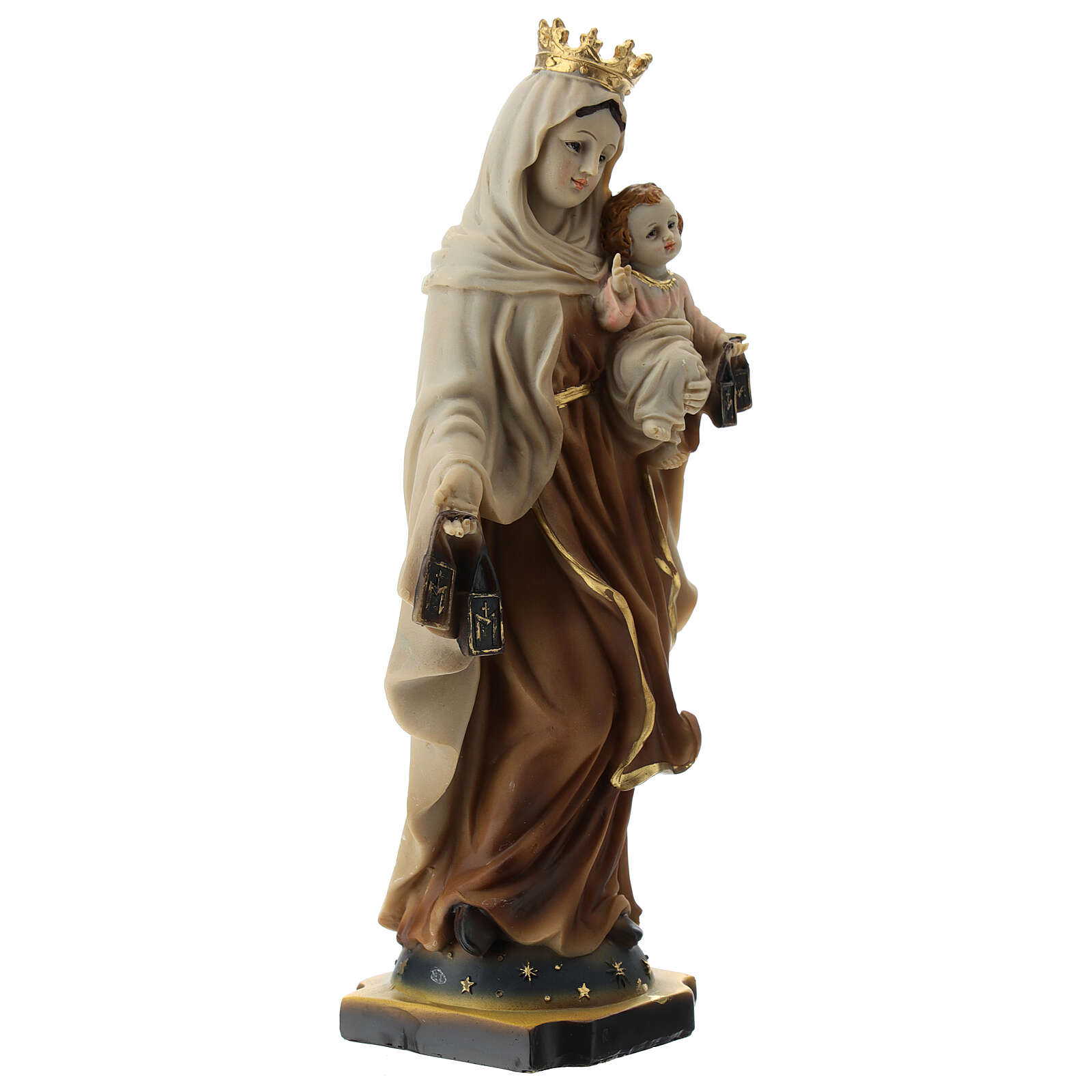 Statue Our Lady of Mount Carmel resin 20 cm 4