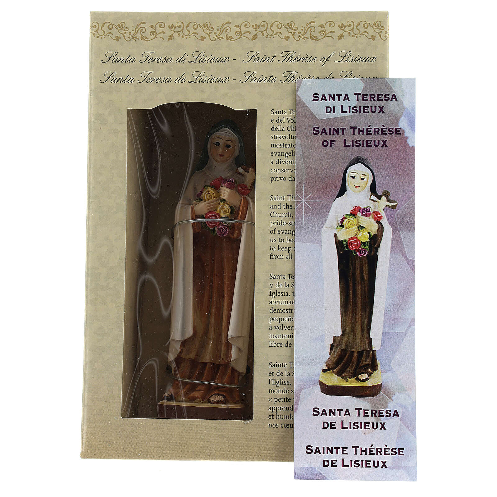 St Therese of Lisieux 12 cm statue MULTILINGUAL PRAYER 4
