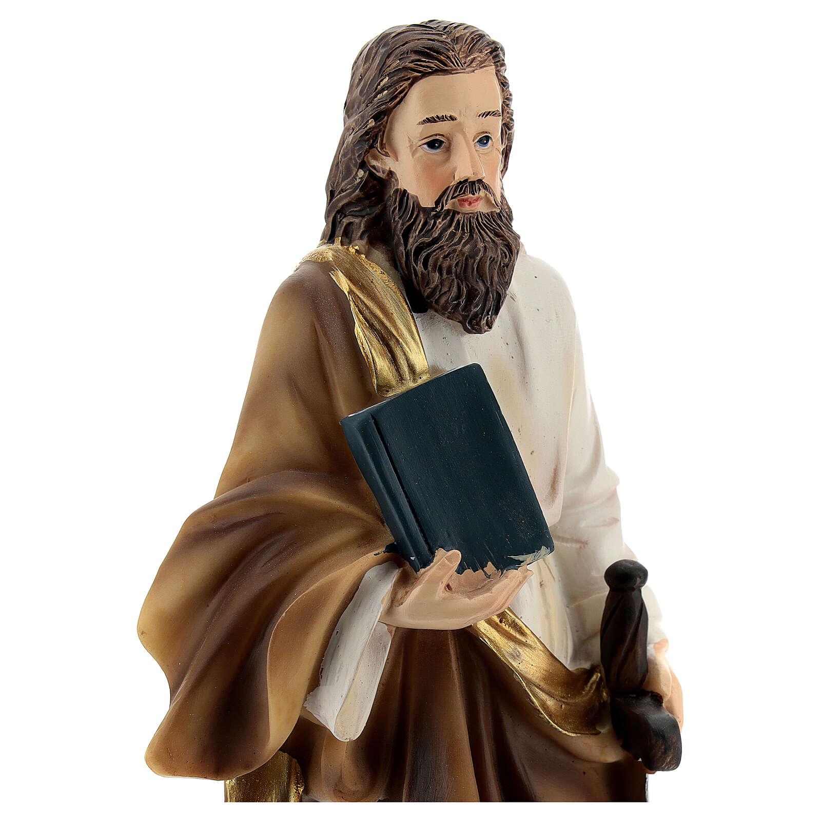 San Paolo capelli castani statua resina 21 cm 4