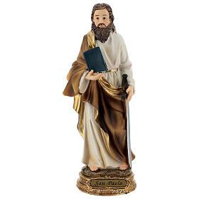 San Paolo capelli castani statua resina 21 cm s1