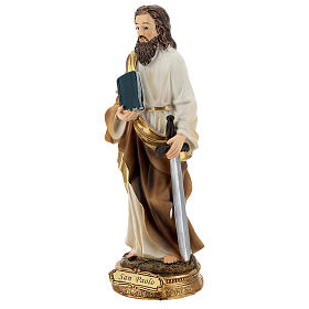 San Paolo capelli castani statua resina 21 cm s3