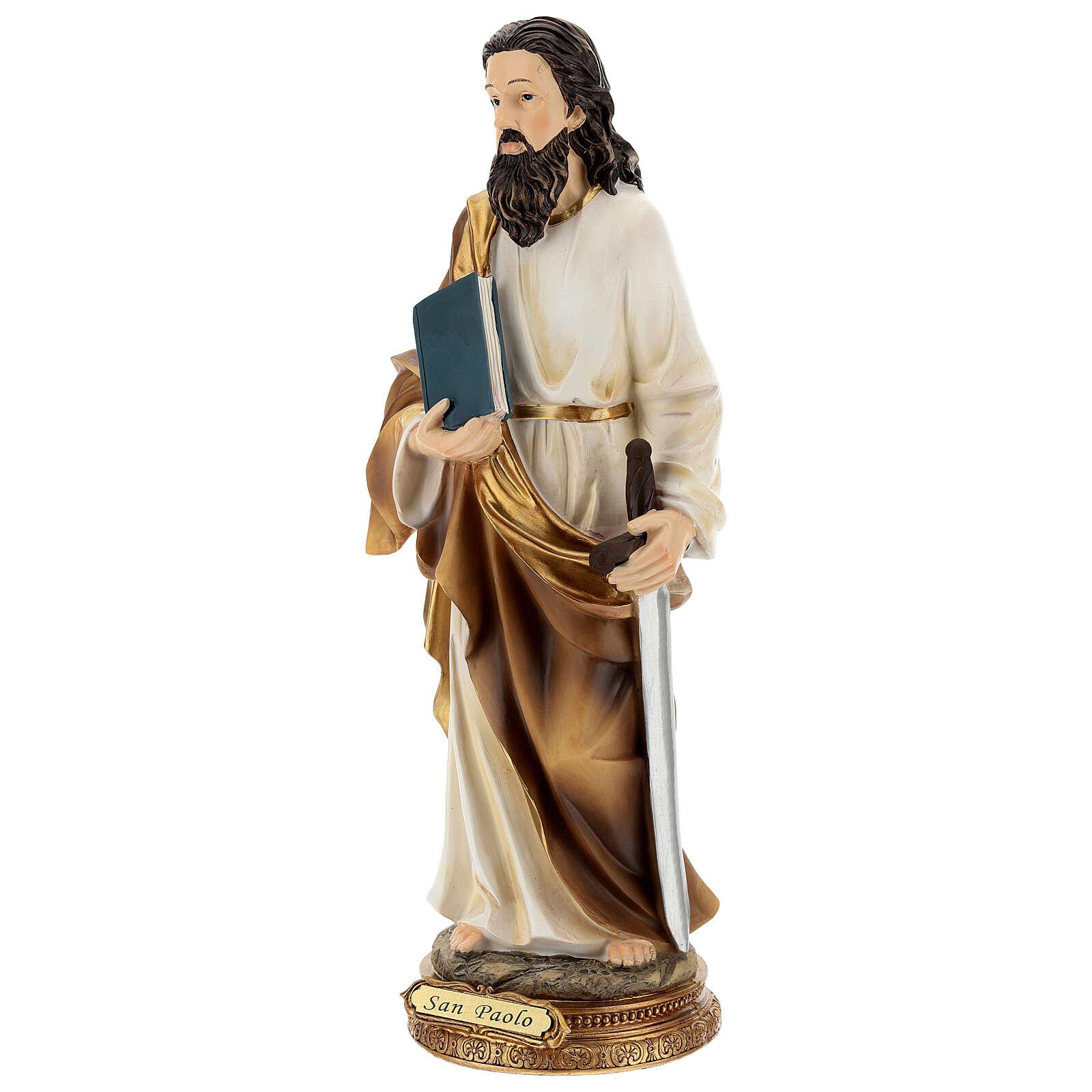 Statue Saint Paul Tarse base dorée résine 32 cm 4
