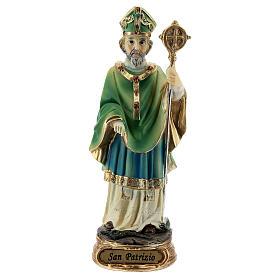 Imagem resina São Patrício com báculo episcopal 13 cm s1